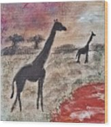 African Landscape Giraffe And Banya Tree At Watering Hole With Mountain And Sunset Grasses Shrubs Sa Wood Print