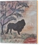 African Landscape Lion And Banya Tree At Watering Hole With Mountain And Sunset Grasses Shrubs Safar Wood Print