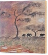African Landscape Three Elephants And Banya Tree At Watering Hole With Mountain And Sunset Grasses S Wood Print