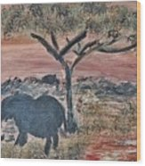 African Landscape With Elephant And Banya Tree At Watering Hole With Mountain And Sunset Grasses Shr Wood Print
