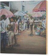 African Market Wood Print