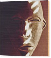 African Mask With Sunlight  Wood Print