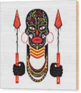 African Motive Background With Ornament Details And Spears  Wood Print