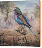 African Roller Wood Print by Brenda Thour