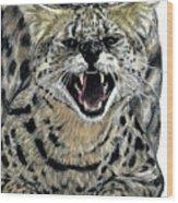 African Serval Wood Print