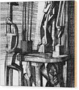 African Statues Wood Print