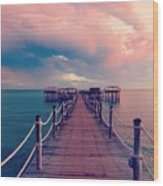 African Sunrise Cotton Candy Skies Wood Print