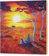 African Sunset Meditation Wood Print