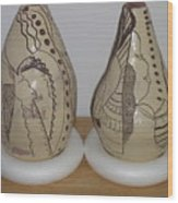 African Terracotta Gourds - View Three Wood Print