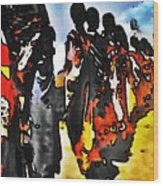 African Tribal Stand Wood Print