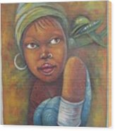 African Woman Portrait- African Paintings Wood Print