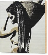 African Woman With Basket Wood Print