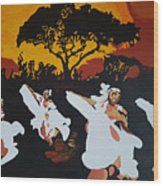 Afro Carib Dance Wood Print