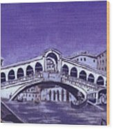 After Canal Grande With The Rialto Bridge Wood Print