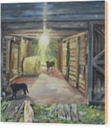 After Hours In Pa's Barn - Barn Lights - Labs Wood Print