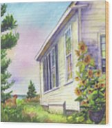 After School Activities At Monhegan School House Wood Print