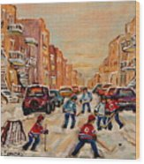 After School Hockey Game Wood Print