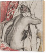 After The Bath Seated Woman Drying Herself Wood Print