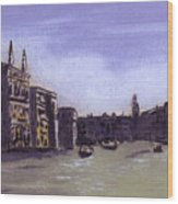 After The Grand Canal From Campo San Vio Near The Rialto Bridge Wood Print