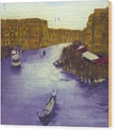 After The Grand Canal From The Rialto Bridge Wood Print