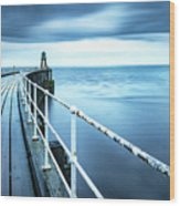 After The Shower Over Whitby Pier Wood Print