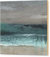 After The Storm 2- Abstract Beach Landscape By Linda Woods Wood Print