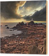 after the storm at La Corbiere Wood Print by Meirion Matthias
