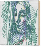 After Vermeer - Face Of Woman Holding A Balance Wood Print