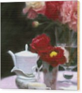 Afternnon Tea With Peonies Wood Print