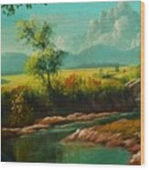 Afternoon By The River With Peaceful Landscape L B Wood Print
