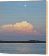 Afternoon Moon - Apalachicola Bay Wood Print