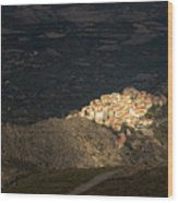Afternoon Sun Lighting Up Village Of Speloncato In Corsica Wood Print