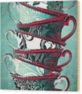 Afternoon Tea Aqua Wood Print