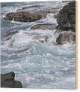 Against The Rocks Wood Print