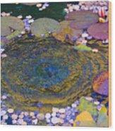 Agape Gardens Autumn Waterfeature Wood Print