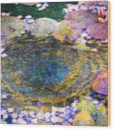 Agape Gardens Autumn Waterfeature II Wood Print