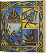 Art Deco In Blue Wood Print