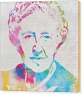 Agatha Christie Watercolor Tribute Wood Print