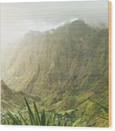 Agave Plants And Rocky Mountains. Santo Antao. Wood Print