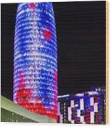 Agbar Tower In Barcelona Wood Print