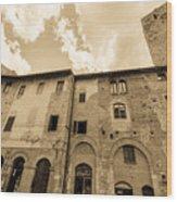 Aged San Gimignano Wood Print