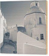 Agios Minas Santorini Bw Wood Print