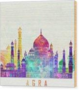 Agra Landmarks Watercolor Poster Wood Print