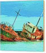 Aground Off Jamaica Wood Print
