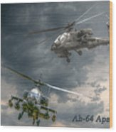 Ah-64 Apache Attack Helicopter In Flight Wood Print by Randy Steele