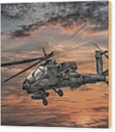 Ah-64 Apache Attack Helicopter Wood Print