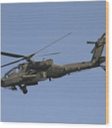 Ah-64 Apache In Flight Over The Baghdad Wood Print by Terry Moore