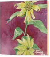 Ah Sunflowers Wood Print