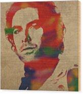 Aidan Turner As Poldark Watercolor Portrait Wood Print