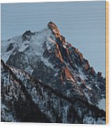 Aiguille Du Midi Chamonix French Alps Wood Print by Pierre Leclerc Photography